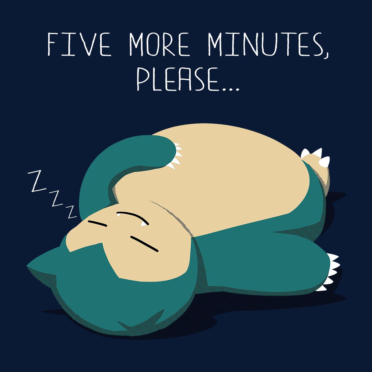 Pokemon-Snorlax-Five-More-Minutes-Please-Men-039-s-T-Shirt thumbnail 2